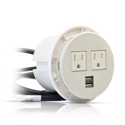 USB & Power Plug Round Socket – White