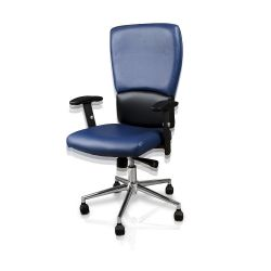 Blue Euro Salon Chair with Chrome Base