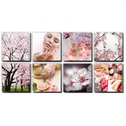 "Pink Cherry Blossom  Ensemble Canvas Mural 48""x96"""