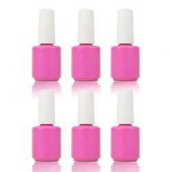 Beyond Gel -  Empty Coated Pink Bottle w/Cap and Brush 0.5 oz