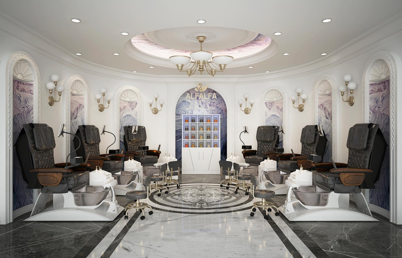 ANS Argento SE Pedicure Chair Installed in a Luxury Nail Salon